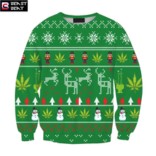 2017 New Christmas 3D Print Green Sweater Deer Pattern Boys Girls Warm Sports Breathable sudaderas Thickened Sweater