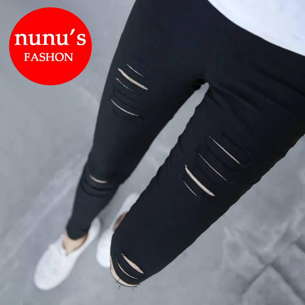 2019 Plus Size Ripped   Jeans   for Women Ankle-Length High Waist Skinny Pencil Pants plus Size Denim Pants PP069