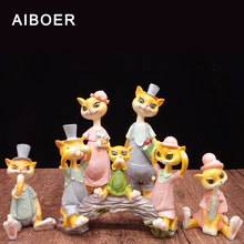 AIBOER Figurine Resin Room Decorations Animals cat Maneki Neko statues for decoration Of Your House Decoration Fashion&Gift Home