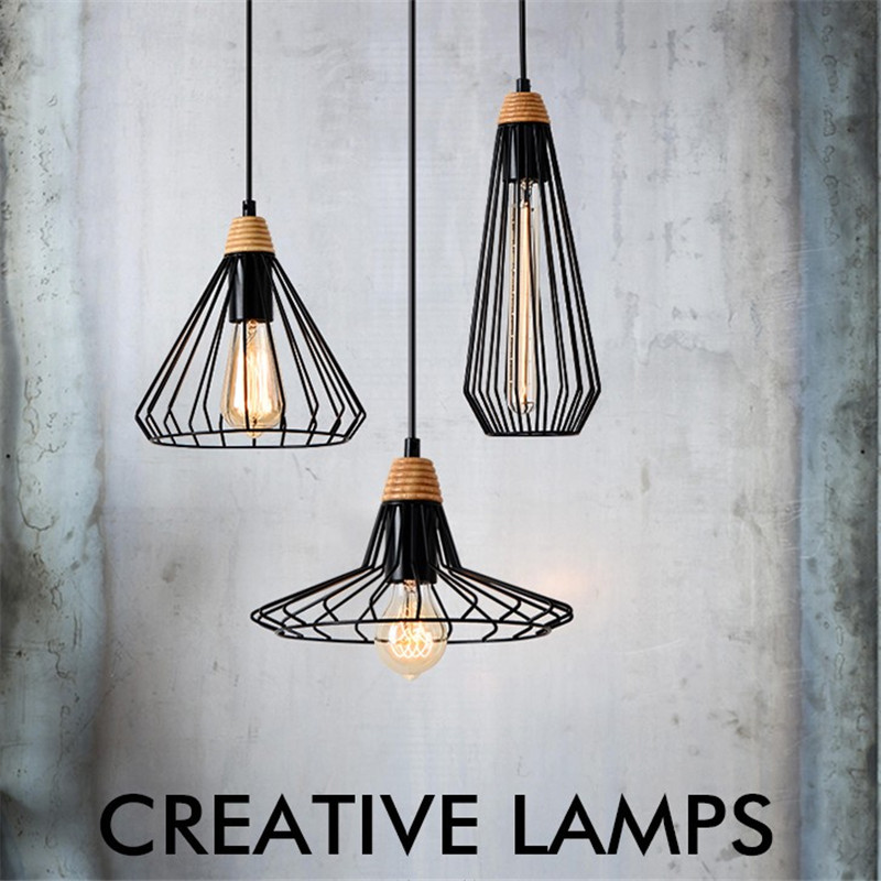 Loft Industrial Wind Pendant Lights Vintage Iron Wood Lamp Dining Room Hanging Light Home Loft Deco Edison Pendant Lighting new chinese style vintage pendant lights wood and bamboo for dining room hotel hall home loft led pendant lamp light ac110v 220v