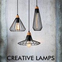 Loft Industrial Wind Pendant Lights Vintage Iron Wood Lamp Dining Room Hanging Light Home Loft Deco Edison Pendant Lighting
