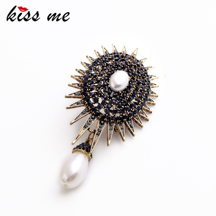 Kvinnor Vintage Big Crystal Simulerade Pearl Brosch Fashion Pin Smycken Factory Wholesale