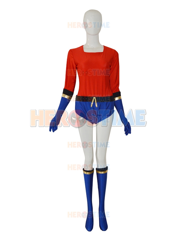 Lycra Spandex Royal Blue & Red Aqualad Garth Superhero Costume Free Shipping
