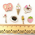 X023 Cartoon Oil Drop Heart Ice Cream Coffee Spoon Brooch Pins Button Pins Girl Jeans Bag Decoration Gift  Bijoux Wholesale