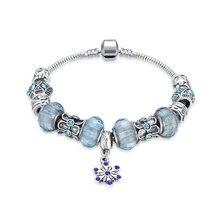 Moda Spacer Pulseira De Prata Azul Cristal Clover Beads Charm Bracelet & Bangles para As Mulheres DIY Jóias pulseira feminina