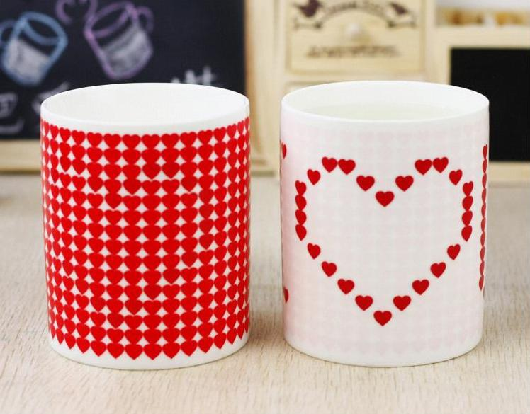 Fashion Magic Ceramic Coffee Tea Milk Hot Cold Heat Sensitive Color Changing Mug Pixel Heart Lovely