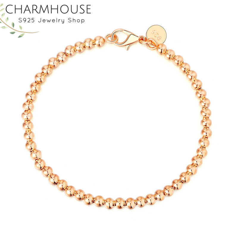 Charmhouse Pure Silver 925 Jewelry 4mm Beads Ball Chain Bracelet for Women Bangles Wristband Pulseira Femme Wedding Party Gifts