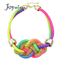 New Arrival Braided Rope Chain Necklace For Women Accessories Neon Necklace Black And Colorful Hollow Out