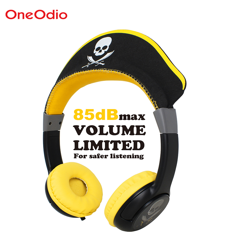 Oneodio Children Headphones Foldable Pirate Design Earphones For Boys Yellow 3.5mm Over-Ear Gaming Headset For Christmas Gift ...