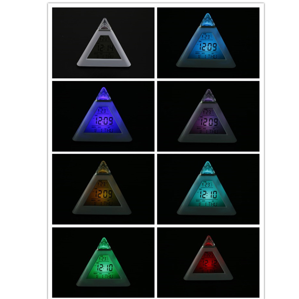 1PCS Pyramid LCD Digital Snooze Alarm Clock LED Time Data Week Temperature Thermometer Hour Home Decor 7 Change Colors