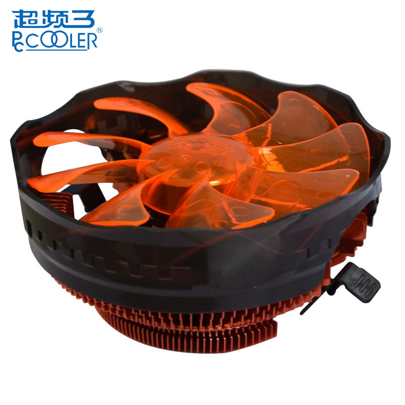 PCCOOLER E121M 120mm 4 Pin Cooling Fan Orange LED PWM Silent CPU Cooler Cooling Fans For Intel LGA775 LGA115X For AMD AM2 AM3 three cpu cooler fan 4 copper pipe cooling fan red led aluminum heatsink for intel lga775 1156 1155 amd am2 am2 am3 ed