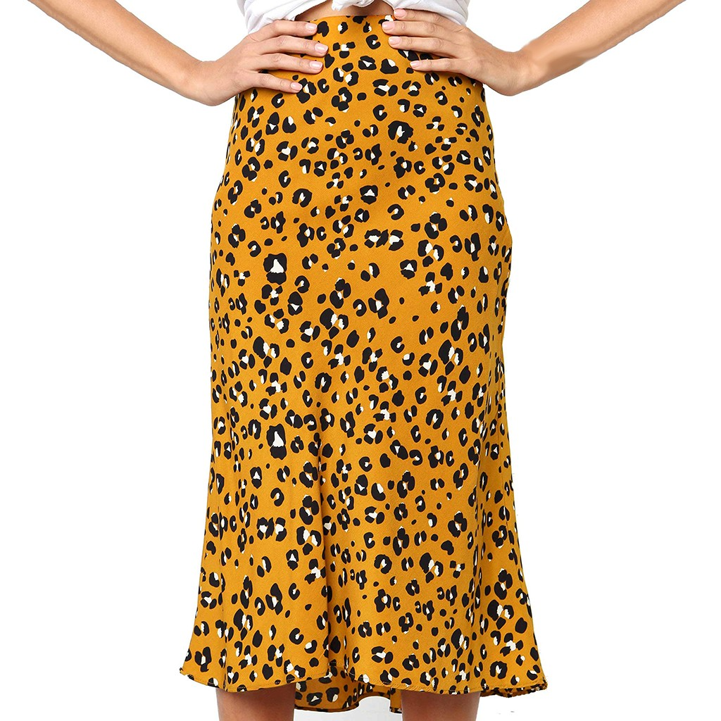 Falda Verano Mujer Plus Size Skirt Spodnice Damskie Leopard Print Vintage Long  Women's Casual High Waist Pleated Skirt Z4
