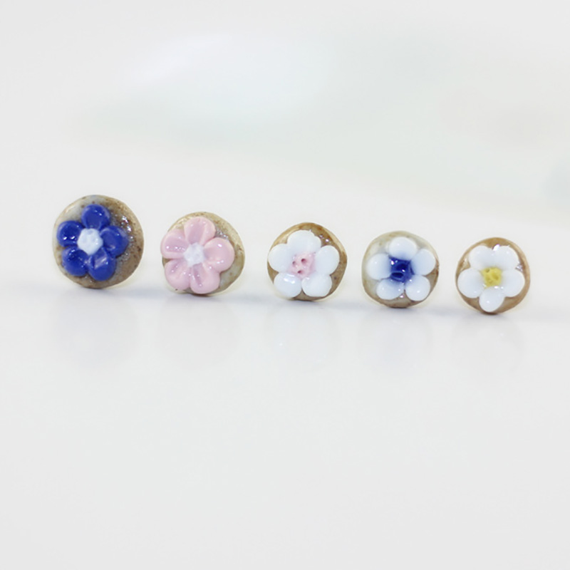 Flower Stud Earrings Ceramic Earring For Women Men Pendientes Jewelry Colorful Porcelain Chinese Stlye Ear Piercing Accessories