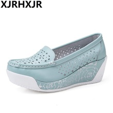 цена Women Summer Leather Platform Wedges Shoes Ladies Shallow Mouth Slip-on High Heels Wedge Shoes Fashion Hollow Mother Shoes