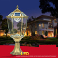 Solar Power Led Ip44 Bronze Antique Brass Landscape Vintage Classical Outdoor Waterproof Pillar Light Lamp Luminaria