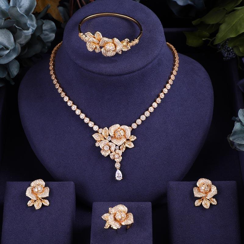 Earrings Wedding-Necklace Janeklly Bridal-Jewelry-Sets Flower Women Accessories Cubic-Zirconia