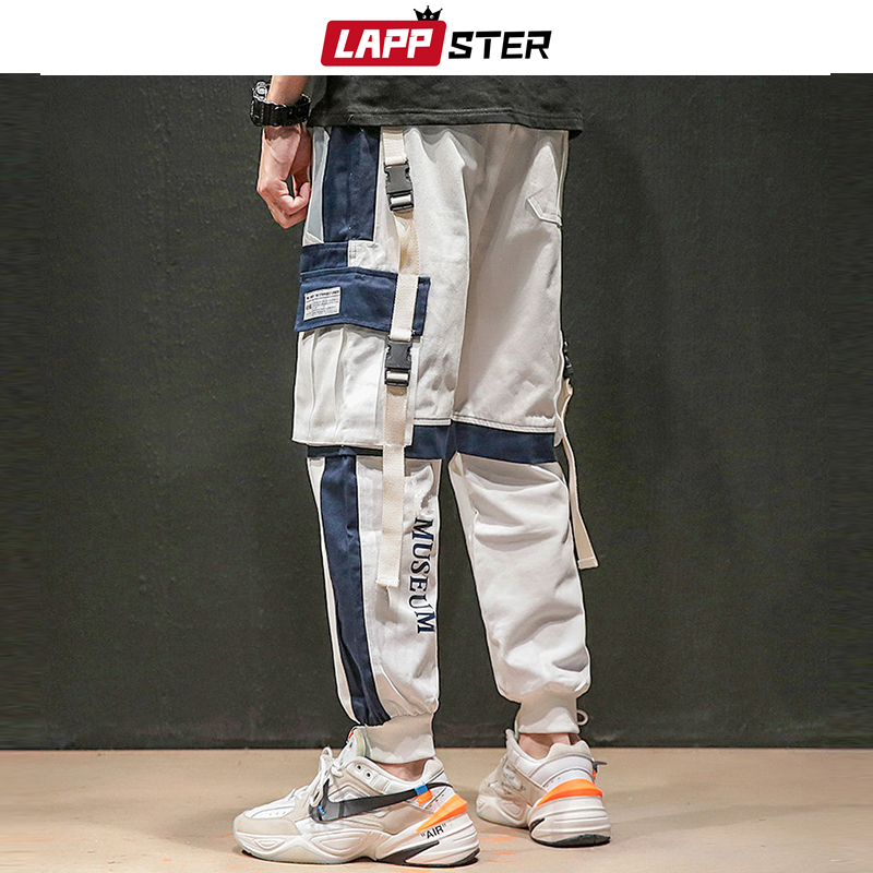 LAPPSTER Japanese Streetwear Cargo Pants 2019 Color Block Ribbons Baggy Joggers Pants Patchwork Harajuku Sweatpants Overalls 4XL