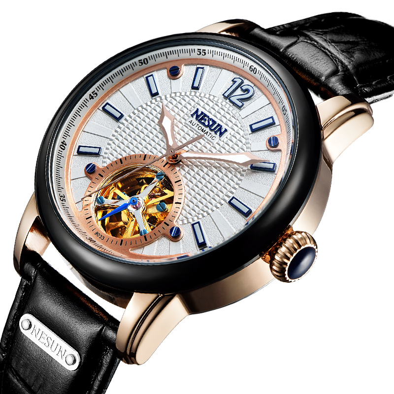 Switzerland Luxury Brand Nesun Skeleton Tourbillon Watch Men Automatic Self-Wind Men's Watches Genuine Leather clock N9033-5 ailang brand men automatic self wind watches leather skeleton tourbillon mechanical clock male rose gold shell watch new