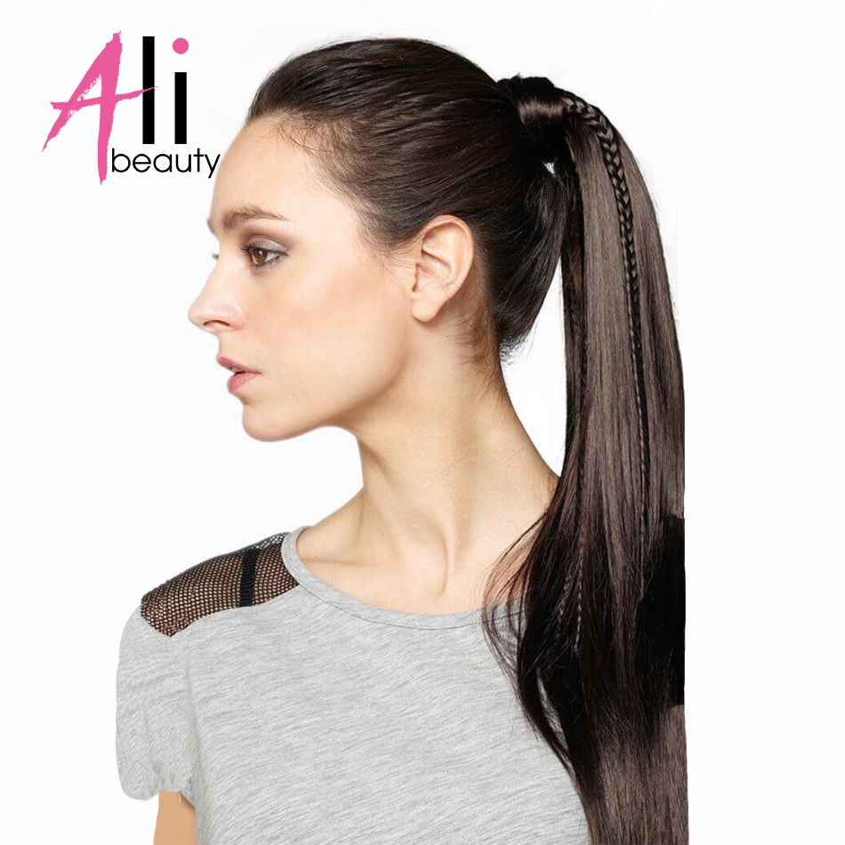 ALI BEAUTY 60g Thick Human Hair Ponytail Wrap Around Horsetail Clips-In Straight Machine Made Remy Hair