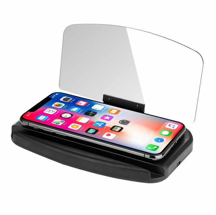 1 HUD Display Mirror Universal Car HUD Head Up Navigation Display Phone Holder GPS Projector 16x10x1.8cm #WL1