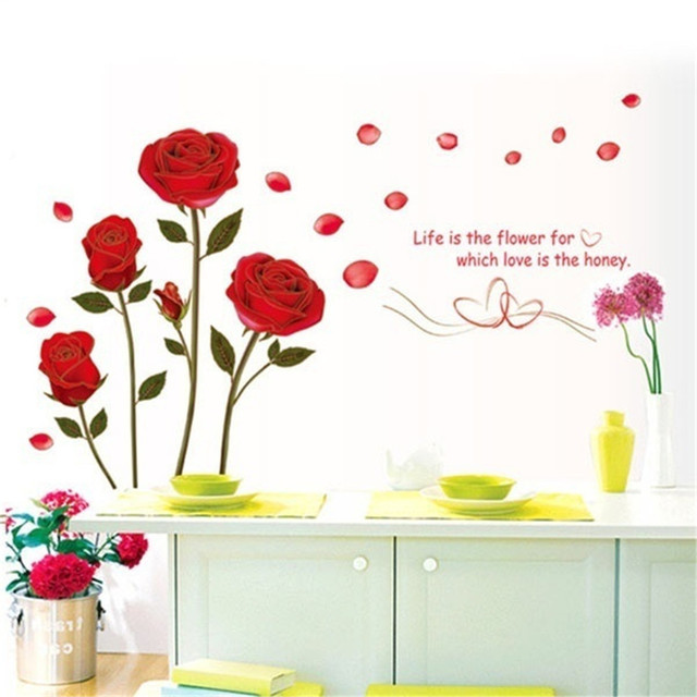 Romantic red rose flower wall sticker rose butterflies wall decals for home decor living room bedroom