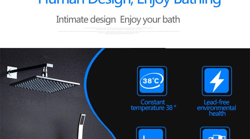 DCAN 10 Rainfall Shower Head System Polished Chrome Bath Wall Mounted Shower Faucet Bathroom Luxury Rain Mixer Shower Combo Set (8)