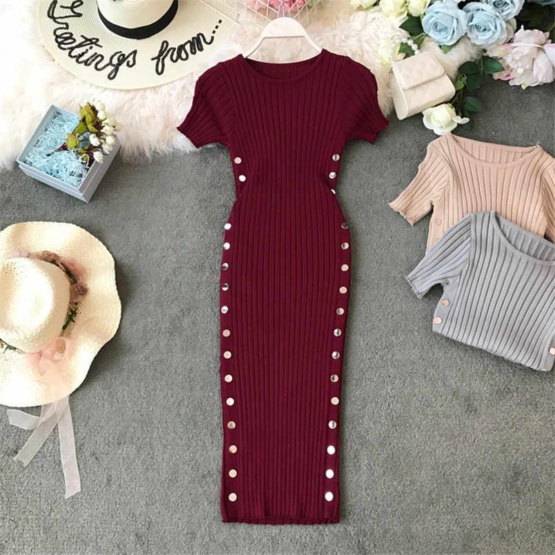 Bouton Vintage dames mince été moulante en tricot Midi robe de bureau femmes décontracté fête crayon élégant gaine genou longueur Vestidos