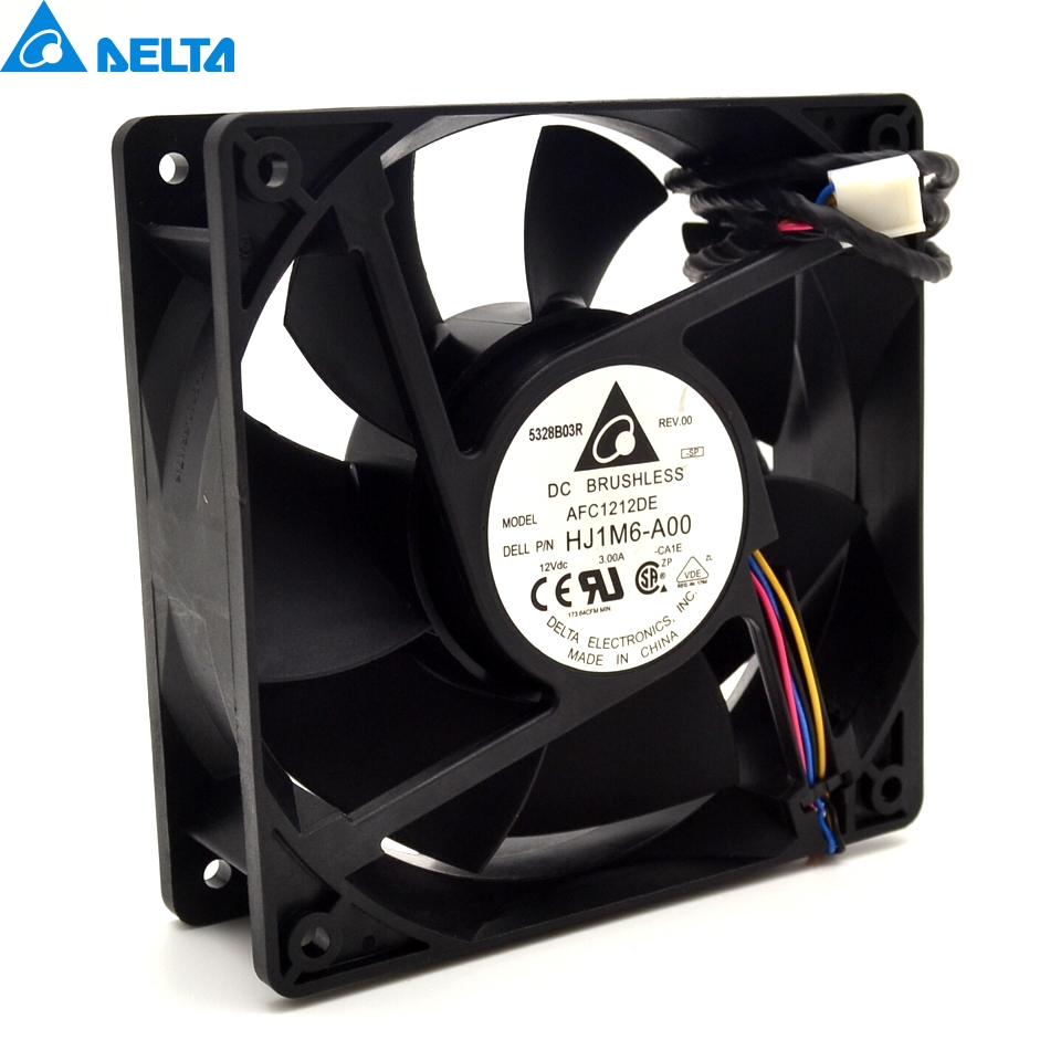 Delta  3 12CM 120x120x38mm 12038 AFC1212DE HJ1M6-AOO  super large volume support PWM 4-wire violence fan with thermostat original delta afc1212de 12038 12cm 120mm dc 12v 1 6a pwm ball fan thermostat inverter server cooling fan