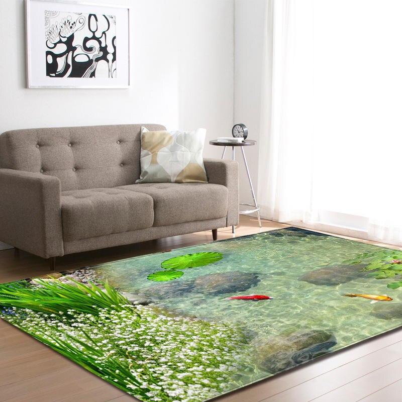 Nordique moderne 3D peinture vert plante impression tapis pour salon canapé zone de chevet tapis enfants jouer tente tapis de sol couverture - 2