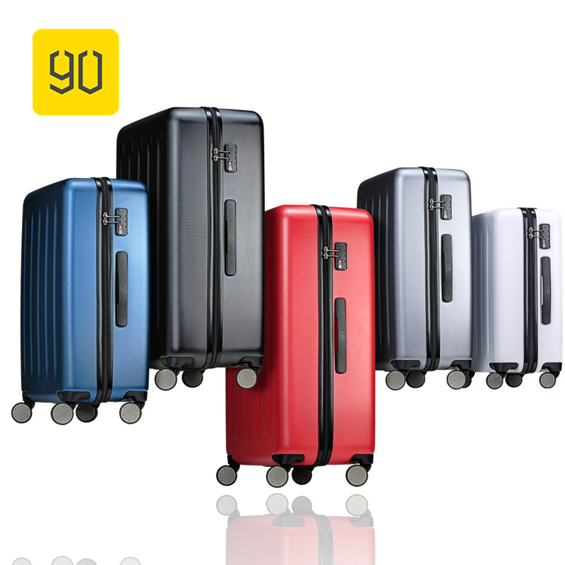 Xiaomi 90FUN Full PC Rolling Luggage with Lock Spinner Lightweight High Strength Carry On Suitcase Travel Luggage 20/24/28 20 24 26 29 vintage suitcase pc abs luggage rolling spinner lightweight suitcase with tsa lock