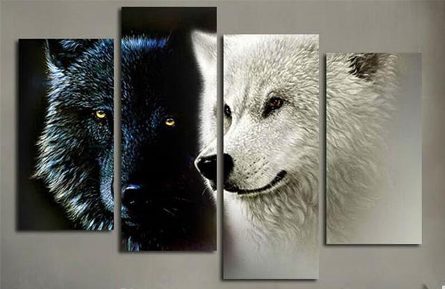 4 Piece Big Wall Art Picture Black And White Two Wolf Animal Canvas  Painting Posters Art