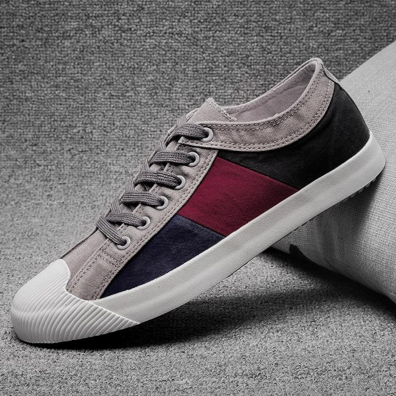 2019 New Men's Canvas Vulcanized Shoes Mixed Color Fashion Men's Leisure Shoes Spring/Autumn Patchwork Cloth Men Sneakers Shoes 2