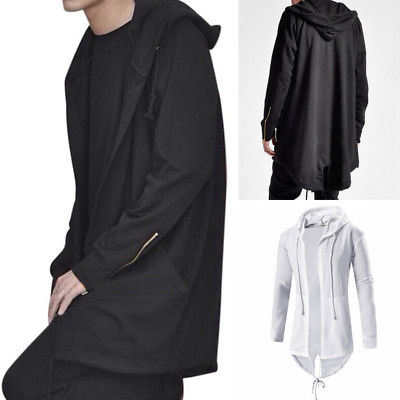 Men Long Hooded Trench Cape Cloak Coat Outwear Casual Slim Fit Jacket Top Warm Gothic