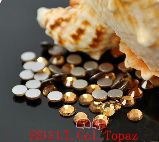 1440pc/bag SS12 3.0-3.2mm LT.Col.Topaz Non HotFix FlatBack Rhinestones,Glass Glitter Glue-on Loose DIY Nail Art Crystals Stones ss12 3 2mm aqua marine nail rhinestones 1440pcs bag non hotfix flatback crystals glass strass glitters for nail art glue stone