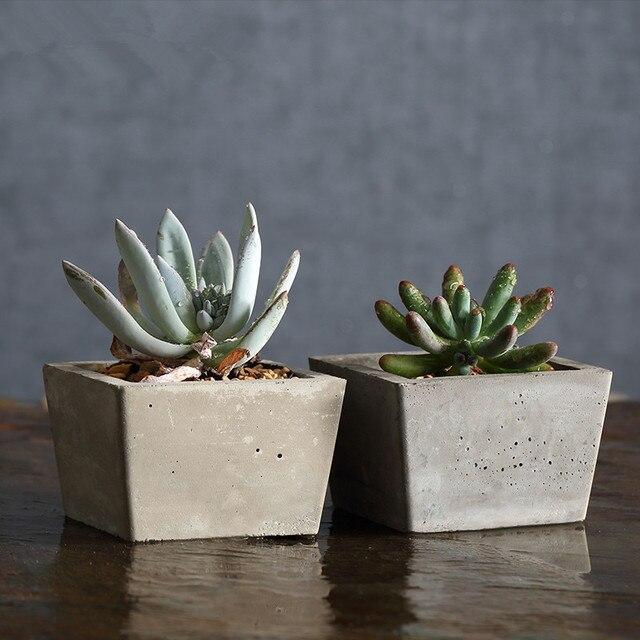 buy square cement flower pots planters. Black Bedroom Furniture Sets. Home Design Ideas