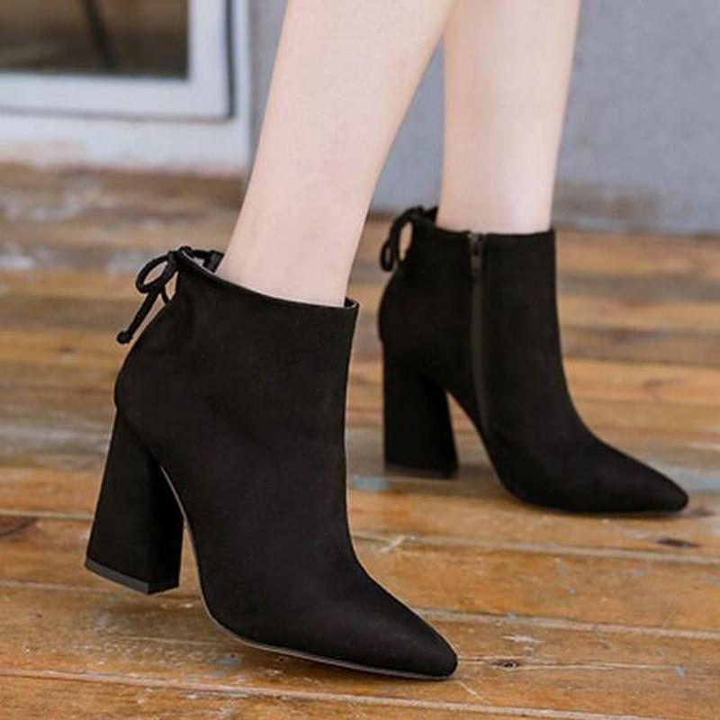 5b56b77853c7c 2019 mode enfant daim femmes bottes chaussures hiver sabot haut talon  chaussures courtes pompes Zip plate forme épaisse avec des bottines Sexy  YB35 dans ...