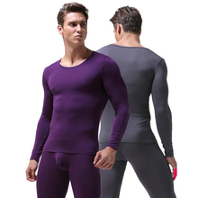 Men s underwear O neck thin thermal Long Johns underpants and undershirts Asian size L to