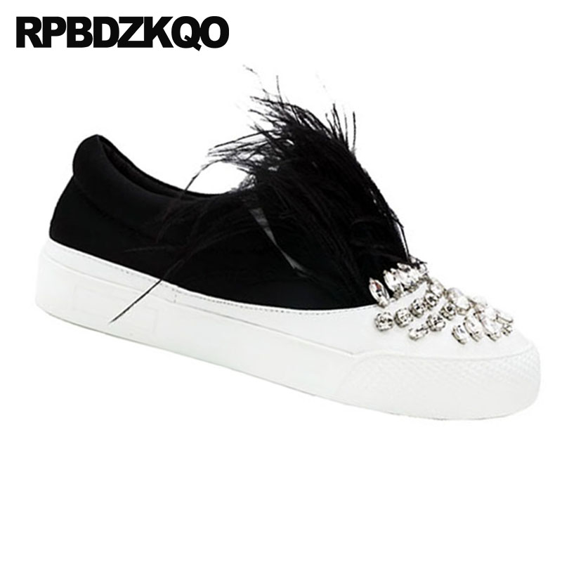 Womens Star Diamante Flat Slip On Loafers Plimsoles Pumps Trainers Shoes