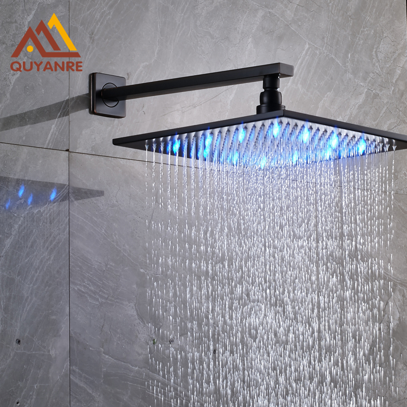 Free Shipping Wholesale And Retail 3 Colors Changing 8 Sqaure Rain Shower Head with Arm Blackened bar stool wholesale and retail chairs australia and the americas european fashion chair free shipping