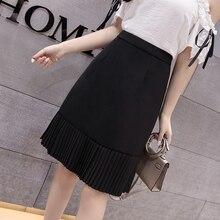 Women Skirts High Waist Midi Skirt Plus Size Korean Woman Pleated Summer Bodycon faldas mujer moda 2019