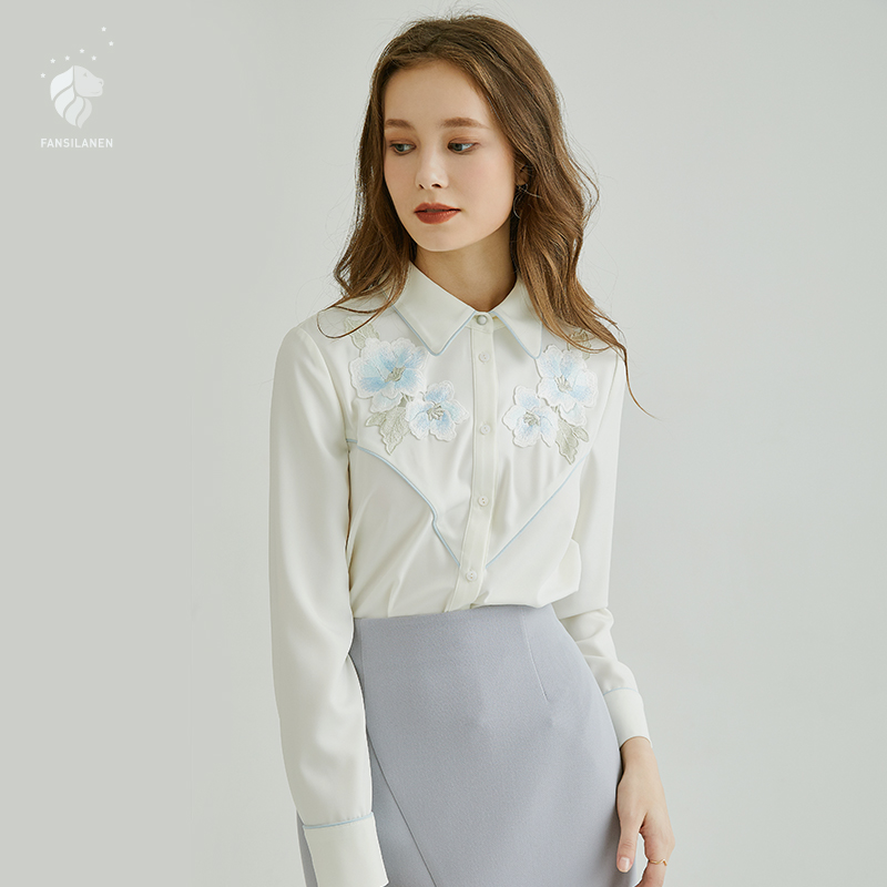 FANSILANEN 2019 Fashion Autumn/Spring Office Women Befree Tops Long Sleeve Blouse Shirts Blouses Print Chiffon Embroidery Z80369