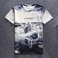 Mais novo Design Criativo 3d dos homens e das Mulheres de Verão 2016 T camisa Carta Urso Branco Coringa Erkek T-shirt Da Forma de Impressão De Plantas Daninhas estilo