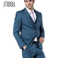 MOGU 2017 New Arrial Mens Suit Slim Fit Latest Coat Pant Designs 3 Piece Mens Suits Blue Wedding Suits For Men Costume Homme