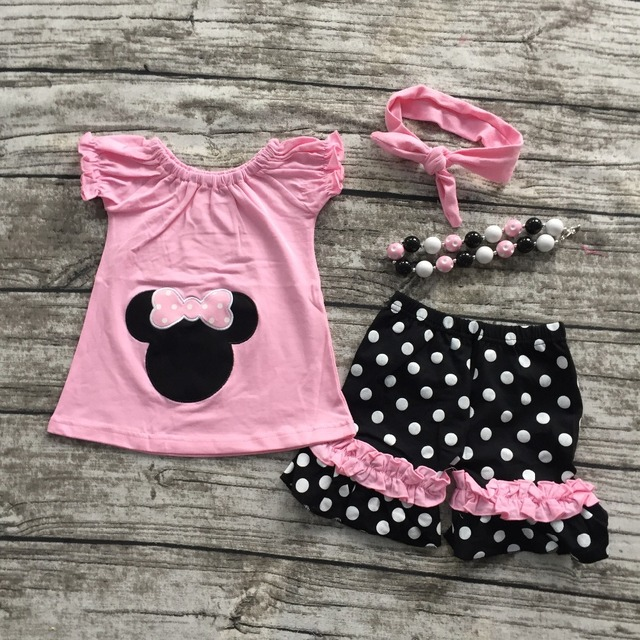 2016 free shipping new hot sell  baby girls pink minnie mouse shorts clothes set outfits with matching necklace and headband set
