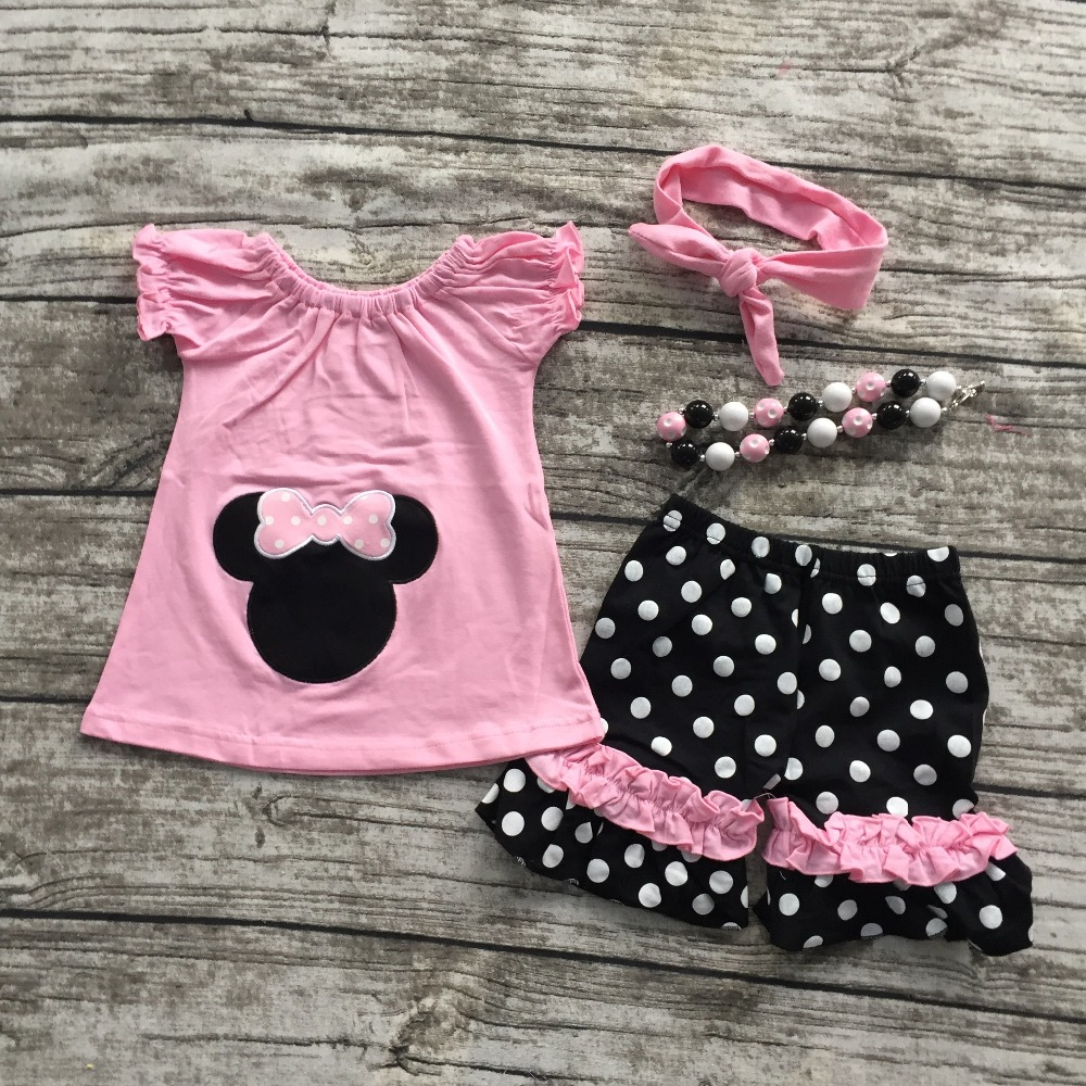 hot sell baby girls pink cotton polka dot ruffles shorts clothes set outfits with matching necklace and headband set 2016 summer baby child girls outfits ruffles shorts white striped watermelon boutique ruffles clothes kids matching headband set