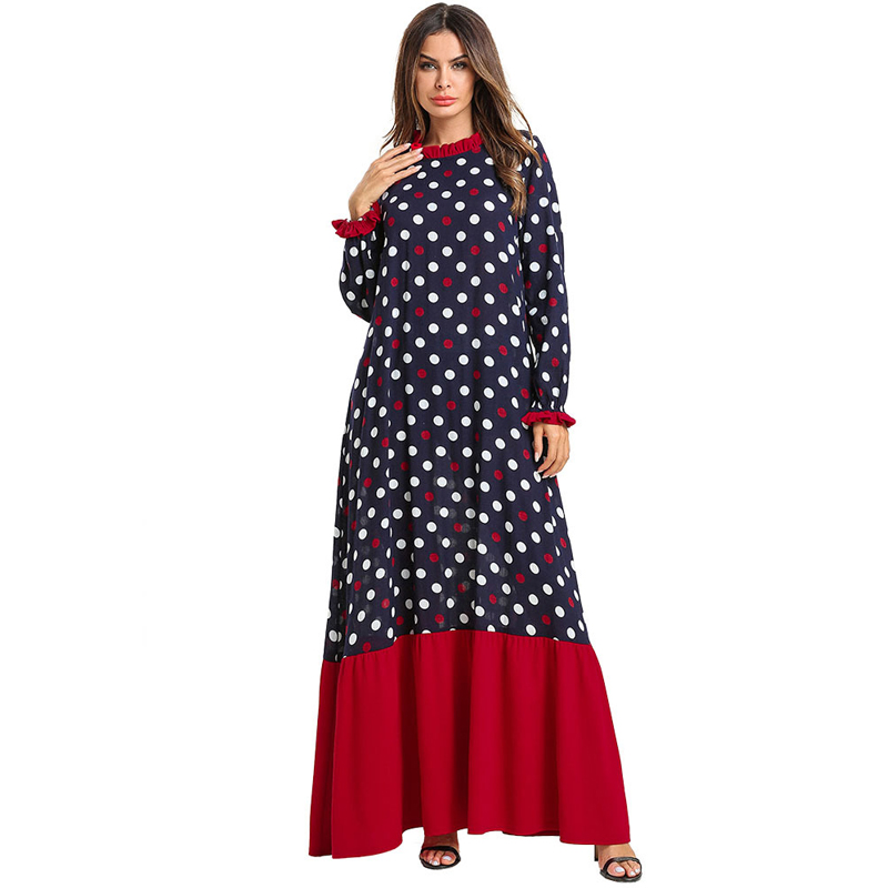 Polka Dot Vestidos 2019 Women Kaftan Abaya Dubai Caftan Muslim Hijab Dress Robe Qatar Tesettur Elbise Turkish Islamic Clothing