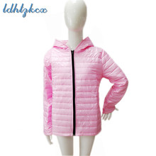2018 Autumn Winter Coat Women New Casual Black Pink Plus Size Hooded Parkas Europe America Hot Sale Light Thin Chic Jackets CX64