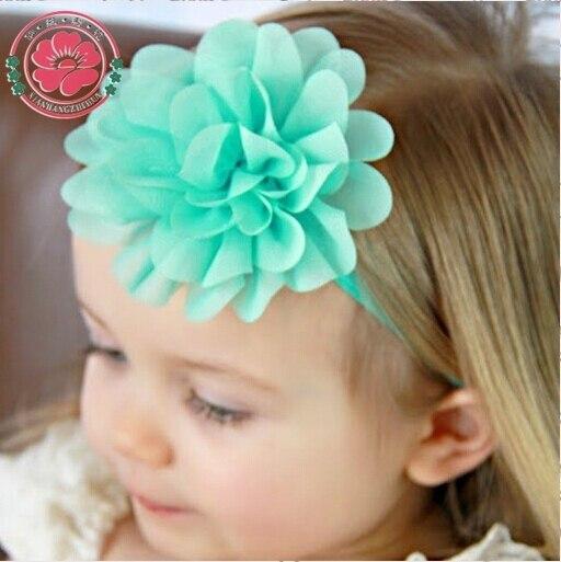 12pcs/lot 2015 NEW Elastic Headband Chiffon Flower Head band Newborn Hair Band Kids Hair Accessories 584