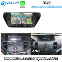 YESSUN For Honda For Accord 8 Europe 2008 2013 Car Android Carplay GPS Navi maps Navigation Player Radio Multimedia HD no CD DVD