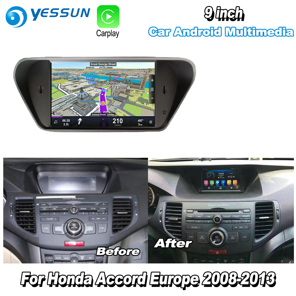 YESSUN Para Honda Accord Para 8 Europa 2008-2013 Carro Carplay Android GPS Navi mapas de Navegação Player Multimídia Rádio HD no CD DVD